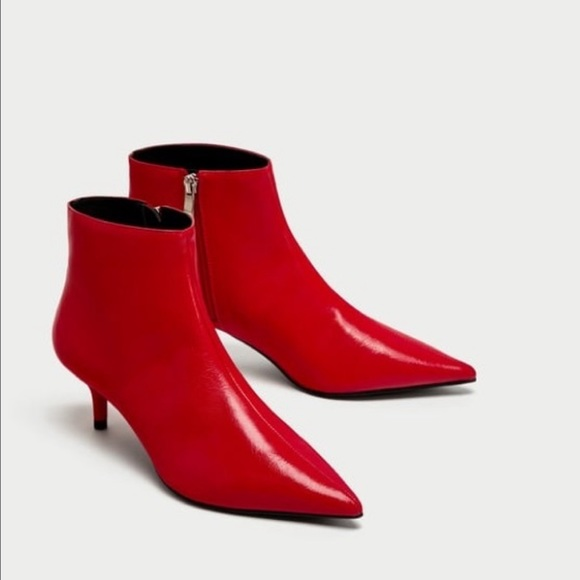 Zara Shoes   Red Kitten Heel Boots